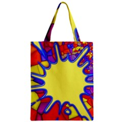 Embroidery Dab Color Spray Zipper Classic Tote Bag