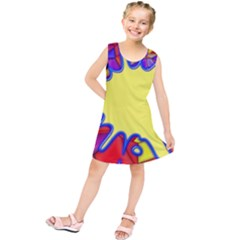 Embroidery Dab Color Spray Kids  Tunic Dress