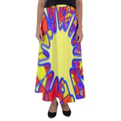 Embroidery Dab Color Spray Flared Maxi Skirt