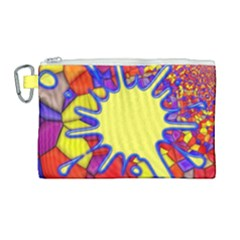 Embroidery Dab Color Spray Canvas Cosmetic Bag (large)