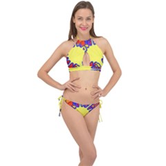 Embroidery Dab Color Spray Cross Front Halter Bikini Set