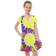 Embroidery Dab Color Spray Kids  Cross Web Dress