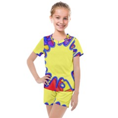 Embroidery Dab Color Spray Kids  Mesh Tee And Shorts Set