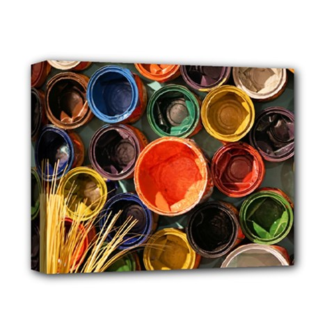 Color Box Colorful Art Artwork Deluxe Canvas 14  X 11  by Nexatart