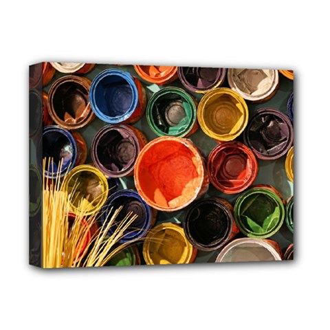 Color Box Colorful Art Artwork Deluxe Canvas 16  X 12   by Nexatart