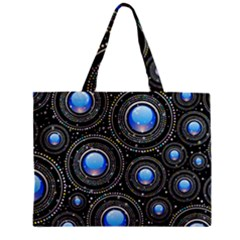 Background Abstract Glossy Blue Zipper Mini Tote Bag