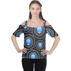 Background Abstract Glossy Blue Cutout Shoulder Tee