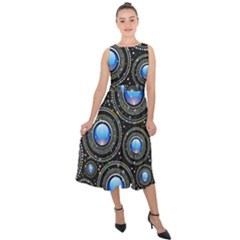 Background Abstract Glossy Blue Midi Tie Back Chiffon Dress