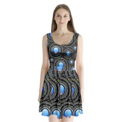 Background Abstract Glossy Blue Split Back Mini Dress