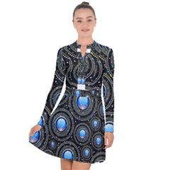Background Abstract Glossy Blue Long Sleeve Panel Dress