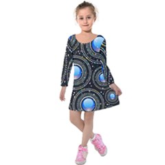 Background Abstract Glossy Blue Kids  Long Sleeve Velvet Dress