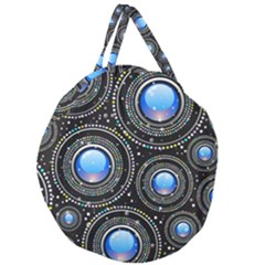 Background Abstract Glossy Blue Giant Round Zipper Tote