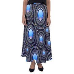Background Abstract Glossy Blue Flared Maxi Skirt