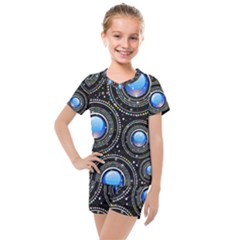 Background Abstract Glossy Blue Kids  Mesh Tee And Shorts Set