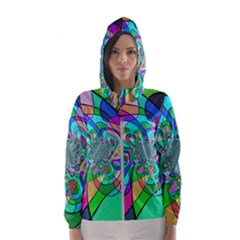 Retro Wave Background Pattern Hooded Windbreaker (women)