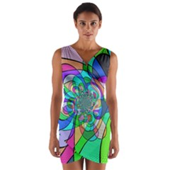 Retro Wave Background Pattern Wrap Front Bodycon Dress
