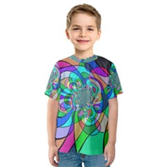 Retro Wave Background Pattern Kids  Sport Mesh Tee
