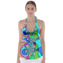 Retro Wave Background Pattern Babydoll Tankini Top