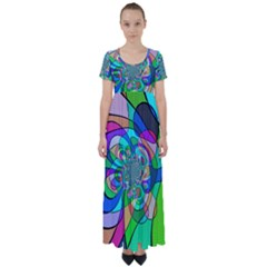 Retro Wave Background Pattern High Waist Short Sleeve Maxi Dress