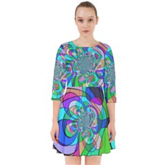 Retro Wave Background Pattern Smock Dress