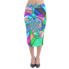 Retro Wave Background Pattern Velvet Midi Pencil Skirt