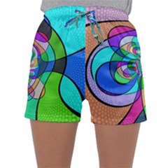 Retro Wave Background Pattern Sleepwear Shorts