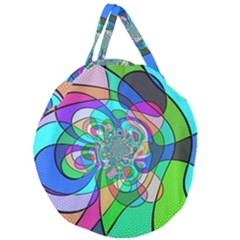 Retro Wave Background Pattern Giant Round Zipper Tote