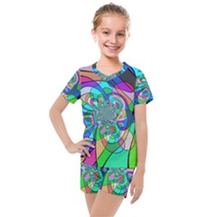 Retro Wave Background Pattern Kids  Mesh Tee And Shorts Set