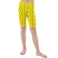 Yellow Background Abstract Kids  Mid Length Swim Shorts