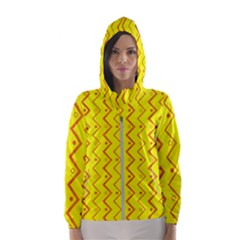 Yellow Background Abstract Hooded Windbreaker (women)