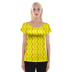 Yellow Background Abstract Cap Sleeve Tops