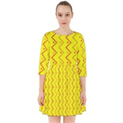 Yellow Background Abstract Smock Dress