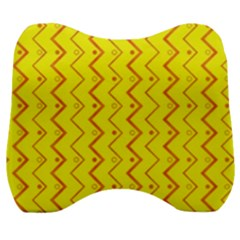 Yellow Background Abstract Velour Head Support Cushion by Nexatart