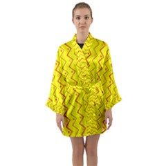 Yellow Background Abstract Long Sleeve Kimono Robe by Nexatart