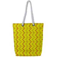 Yellow Background Abstract Full Print Rope Handle Tote (small)