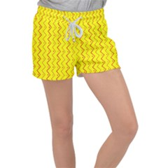 Yellow Background Abstract Women s Velour Lounge Shorts