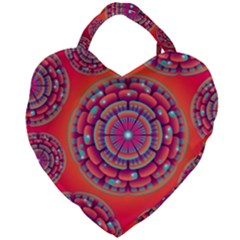 Floral Background Texture Pink Giant Heart Shaped Tote