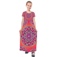 Floral Background Texture Pink Kids  Short Sleeve Maxi Dress