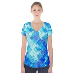 Abstract Squares Arrangement Short Sleeve Front Detail Top