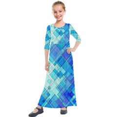 Abstract Squares Arrangement Kids  Quarter Sleeve Maxi Dress