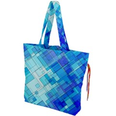 Abstract Squares Arrangement Drawstring Tote Bag