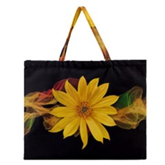 Sun Flower Blossom Bloom Particles Zipper Large Tote Bag