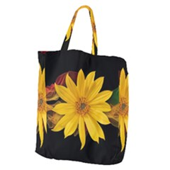 Sun Flower Blossom Bloom Particles Giant Grocery Tote