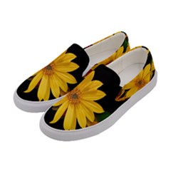 Sun Flower Blossom Bloom Particles Women s Canvas Slip Ons by Nexatart
