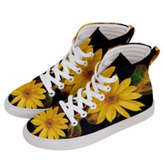 Sun Flower Blossom Bloom Particles Women s Hi Top Skate Sneakers by Nexatart