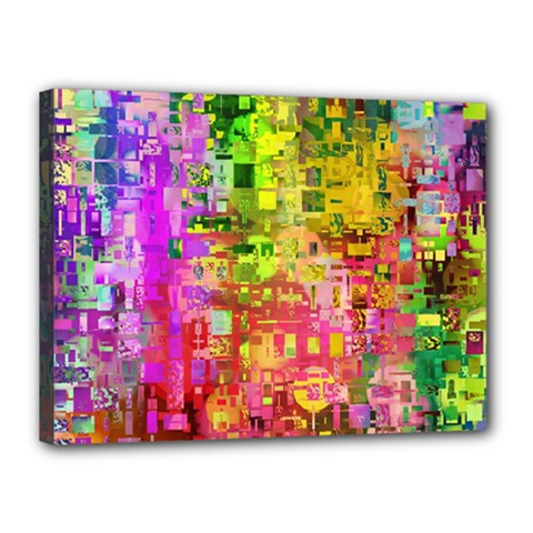 Color Abstract Artifact Pixel Canvas 16  X 12  by Nexatart