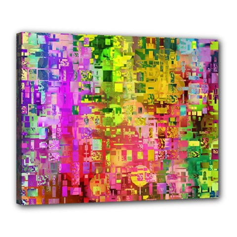 Color Abstract Artifact Pixel Canvas 20  X 16