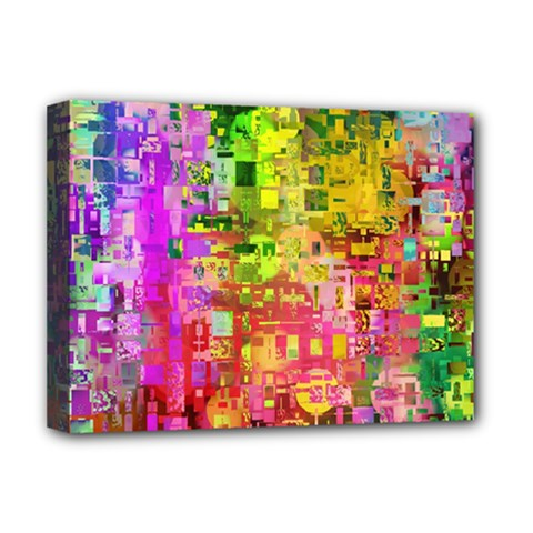 Color Abstract Artifact Pixel Deluxe Canvas 16  X 12   by Nexatart