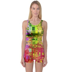 Color Abstract Artifact Pixel One Piece Boyleg Swimsuit