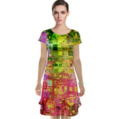 Color Abstract Artifact Pixel Cap Sleeve Nightdress